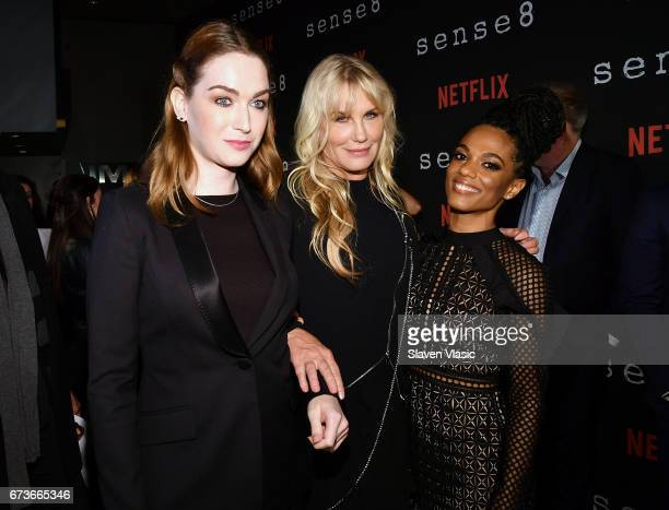 Jamie Clayton Daryl Hannah and Freema Agyeman attend 'Sense8' New York Premiere at AMC Lincoln Square Theater on April 26 2017 in New York City