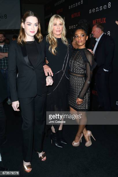 Jamie Clayton Daryl Hannah and Freema Agyeman attend the Season 2 Premiere of Netflix's 'Sense8' at AMC Lincoln Square Theater on April 26 2017 in...