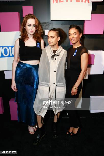 Jamie Clayton Tyler Ford and Freema Agyeman attend the 2017 Village Voice Pride Awards at Capitale on June 21 2017 in New York City
