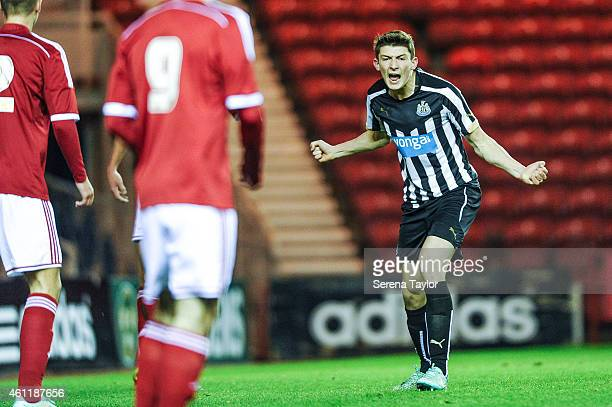 Jamie Cobain of Newcastle celebrates after scoring the opening goal during the FA Youth Cup Round 4 match between Middlesbrough and Newcastle United...