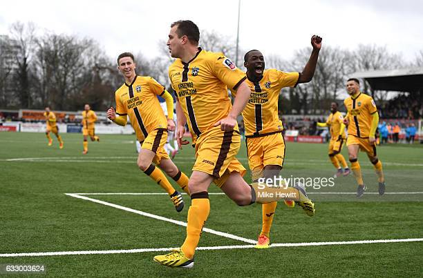 Jamie Collins of Sutton United celebrates scoring his sides first goal with his Sutton United team mates during The Emirates FA Cup Fourth Round...