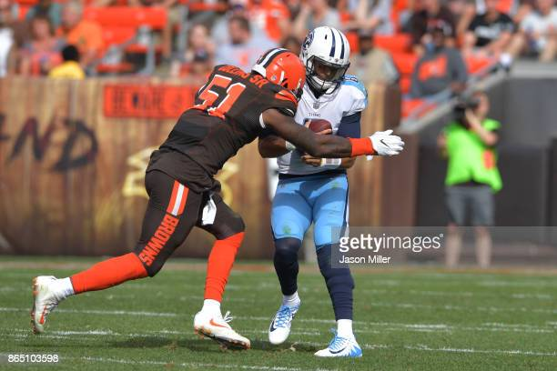 Jamie Collins of the Cleveland Browns sacks Marcus Mariota of the Tennessee Titans in the second quarter at FirstEnergy Stadium on October 22 2017 in...