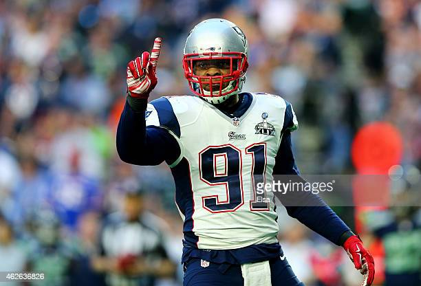 Jamie Collins of the New England Patriots reacts after stopping Marshawn Lynch of the Seattle Seahawks in the first quarter during Super Bowl XLIX at...