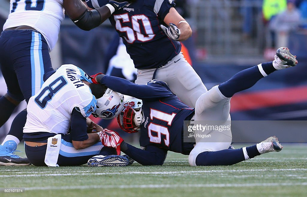 Jamie Collins #91 of the New England Patriots sacks <a gi-track='captionPersonalityLinkClicked' href=/galleries/search?phrase=Marcus+Mariota&family=editorial&specificpeople=8572256 ng-click='$event.stopPropagation()'>Marcus Mariota</a> #8 of the Tennessee Titans during the first half at Gillette Stadium on December 20, 2015 in Foxboro, Massachusetts.