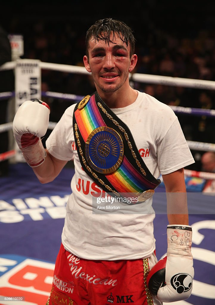 Jamie Conlan celebrates victory over Anthony Nelson after the Commonwealth Super Flyweight Championship contest between Anthony Nelson and Jamie Conlan at Copper Box Arena on April 30, 2016 in London, England.