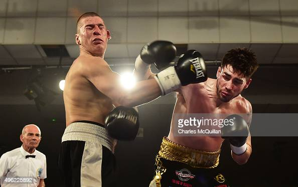 Jamie Cox lands a knockout blow to Ferenc Albert during their super middleweight bout on The Second Coming bill at the National Stadium on November 7...