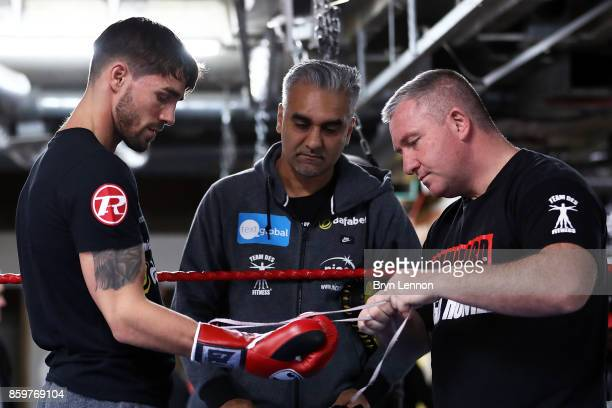 Jamie Cox of Great Britain prepares for a media workout at the Stonebridge Boxing Club on October 10 2017 in London England