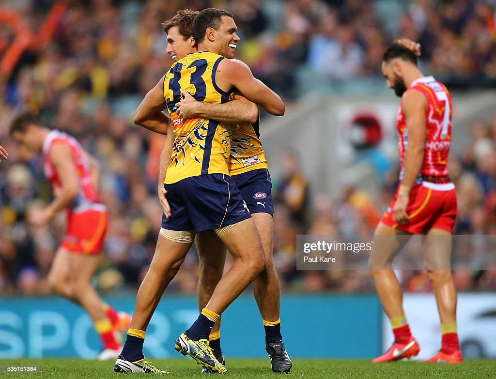 Jamie Cripps and <a gi-track='captionPersonalityLinkClicked' href=/galleries/search?phrase=Josh+Hill+-+Australian+Rules+Footballer&family=editorial&specificpeople=11408327 ng-click='$event.stopPropagation()'>Josh Hill</a> of the Eagles celebrate a goal during the round 10 AFL match between the West Coast Eagles and the Gold Coast Suns at Domain Stadium on May 29, 2016 in Perth, Australia.