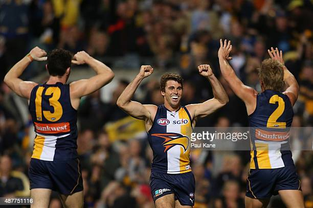 Jamie Cripps of the Eagles celebrates a goal during the AFL Qualifying Final match between the West Coast Eagles and Hawthorn Hawks at Domain Stadium...