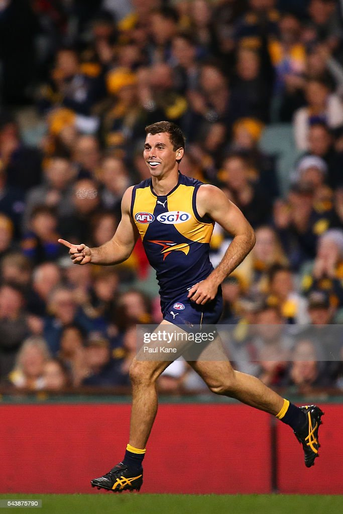 Jamie Cripps of the Eagles celebrates a goal during the round 15 AFL match between the West Coast Eagles and the Essendon Bombers at Domain Stadium on June 30, 2016 in Perth, Australia.