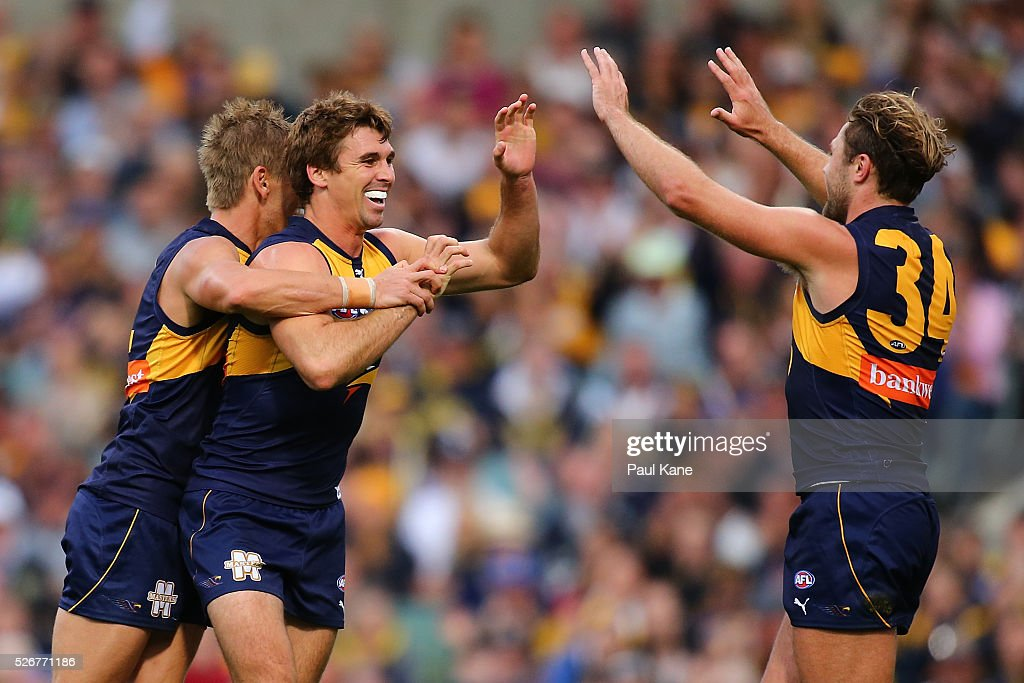 Jamie Cripps of the Eagles celebrates a goal during the round six AFL match between the West Coast Eagles and the Collingwood Magpies at Domain Stadium on May 1, 2016 in Perth, Australia.