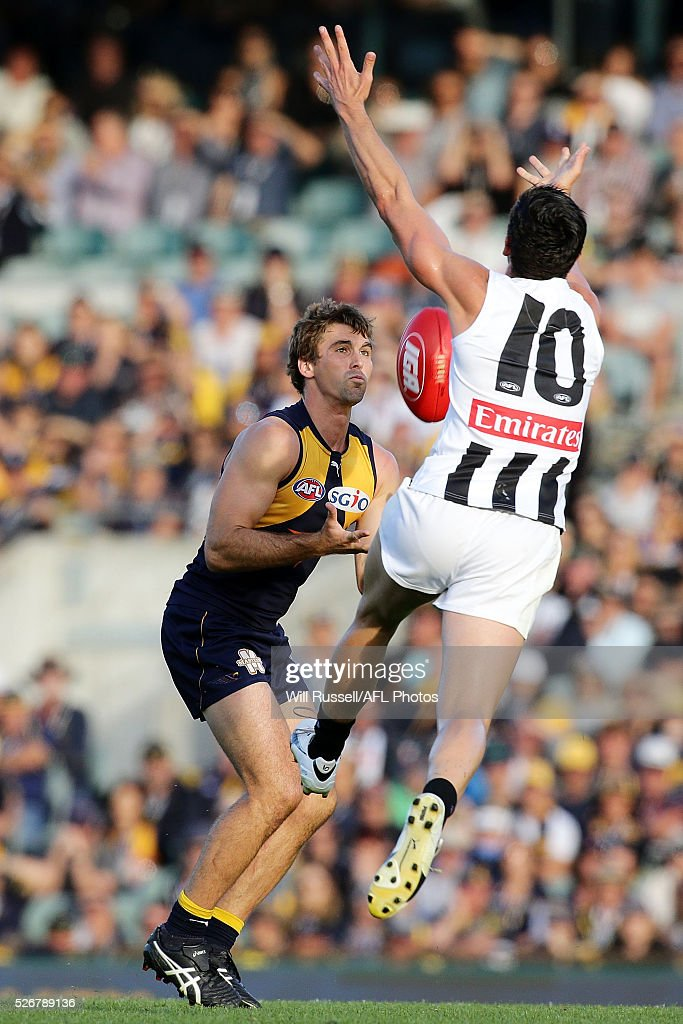 Jamie Cripps of the Eagles marks the ball in front of <a gi-track='captionPersonalityLinkClicked' href=/galleries/search?phrase=Scott+Pendlebury&family=editorial&specificpeople=585782 ng-click='$event.stopPropagation()'>Scott Pendlebury</a> of the Magpies during the round six AFL match between the West Coast Eagles and the Collingwood Magpies at Domain Stadium on May 1, 2016 in Perth, Australia.