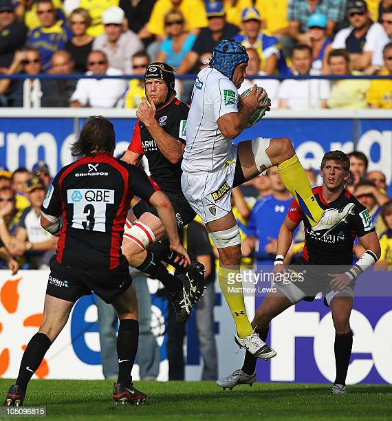 Jamie Cudmore of ASM Clermont Auvergne wins the ball from Hugh Vyvyan of Saracens during the Heineken Cup match between ASM Clermont Auvergne and...