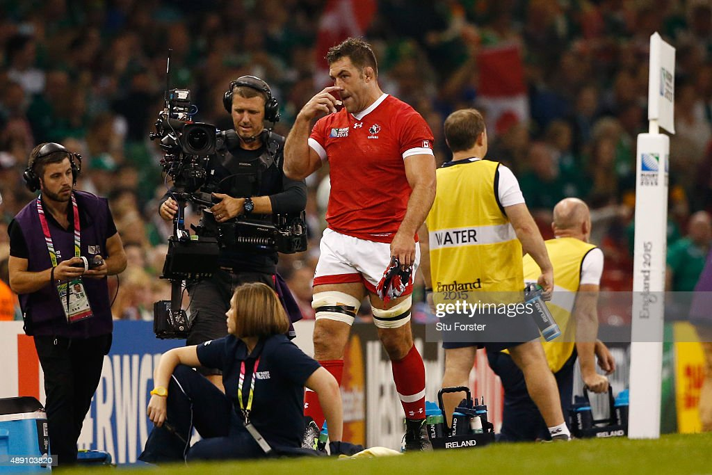 <a gi-track='captionPersonalityLinkClicked' href=/galleries/search?phrase=Jamie+Cudmore&family=editorial&specificpeople=2160348 ng-click='$event.stopPropagation()'>Jamie Cudmore</a> of Canada is sent to the sin bin during the 2015 Rugby World Cup Pool D match between Ireland and Canada at the Millennium Stadium on September 19, 2015 in Cardiff, United Kingdom.