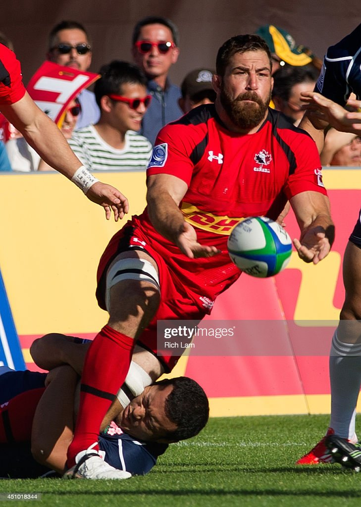 <a gi-track='captionPersonalityLinkClicked' href=/galleries/search?phrase=Jamie+Cudmore&family=editorial&specificpeople=2160348 ng-click='$event.stopPropagation()'>Jamie Cudmore</a> #5 of Canada passes the ball during Pacific Nations Cup Rugby action against Japan on June 7, 2014 at Swanguard Stadium in Burnaby, British Columbia, Canada.