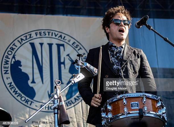 Jamie Cullum performs during the Newport Jazz festival 2015 at Fort Adams State Park on August 2 2015 in Newport Rhode Island