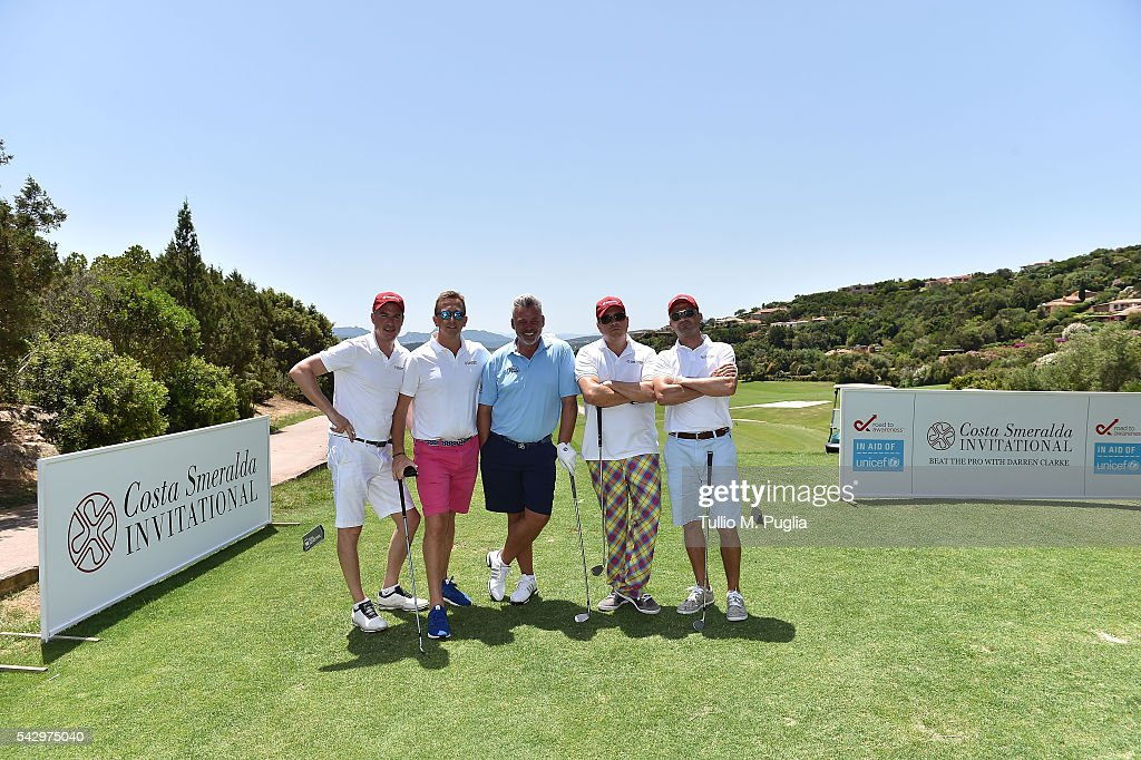 Jamie Cunningham, Ben Sharpe, Darren Clarke, Dom Joly and Neil Murray pose during The Costa Smeralda Invitational golf tournament at Pevero Golf Club - Costa Smeralda on June 25, 2016 in Olbia, Italy.