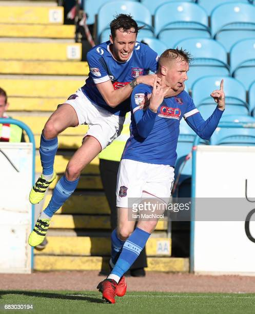 Jamie Devitt and Nicky Adams of Carlisle United celebrate their team's opening goal during the Sky Bet League Two match between Carlise United and...