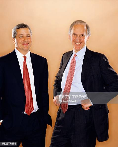 Jamie Dimon CEO of Bank One and William B Harrison Jr CEO of JP Morgan Chase Manhattan Corporation