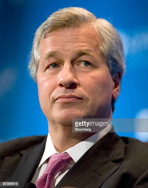 Jamie Dimon chairman and chief executive officer of JP Morgan Chase Co listens during an interview at the annual meeting of the Securities Industry...