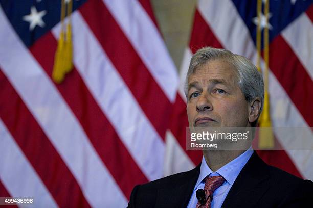 Jamie Dimon chief executive officer of JPMorgan Chase Co speaks during a financial inclusion forum at the US Treasury Department in Washington DC US...