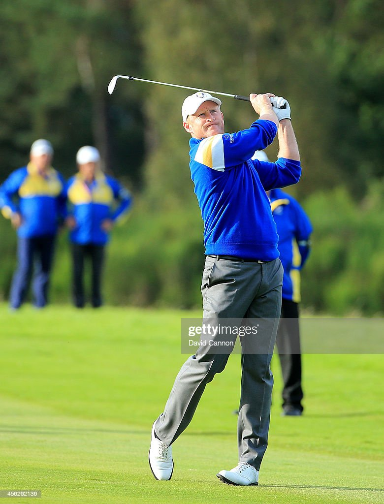 Jamie Donaldson of Europe plays his approach shot to the 15th hole shortly before Europe won the Ryder Cup after Donaldson defeated Keegan Bradley of...