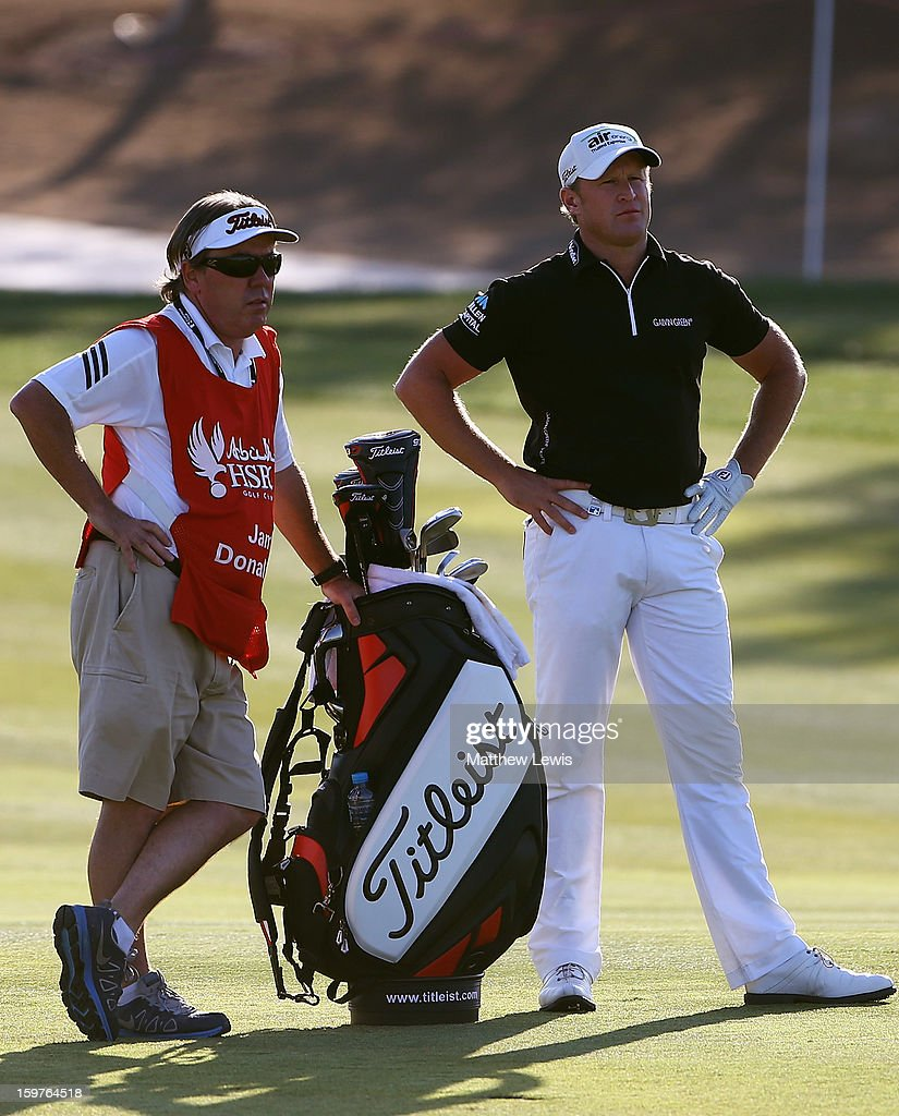 Jamie Donaldson of Wales and his caddie Mick Donaghy look on during day four of the Abu Dhabi HSBC Golf Championship at Abu Dhabi Golf Club on January 20, 2013 in Abu Dhabi, United Arab Emirates.
