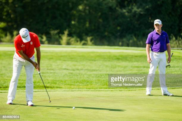Jamie Donaldson of Wales and Jorge Campillo of Spain are seen during day two of the Saltire Energy Paul Lawrie Matchplay at Golf Resort Bad Griesbach...