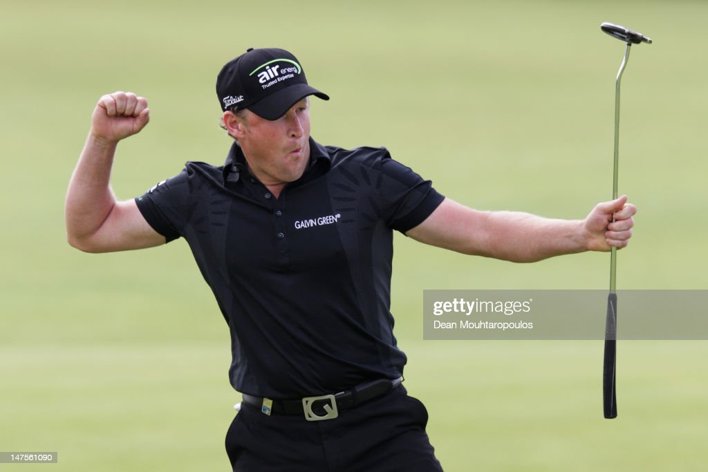Jamie Donaldson of Wales celebrates after winning the 2012 Irish Open held on the Dunluce Links at Royal Portrush Golf Club on July 1 2012 in...