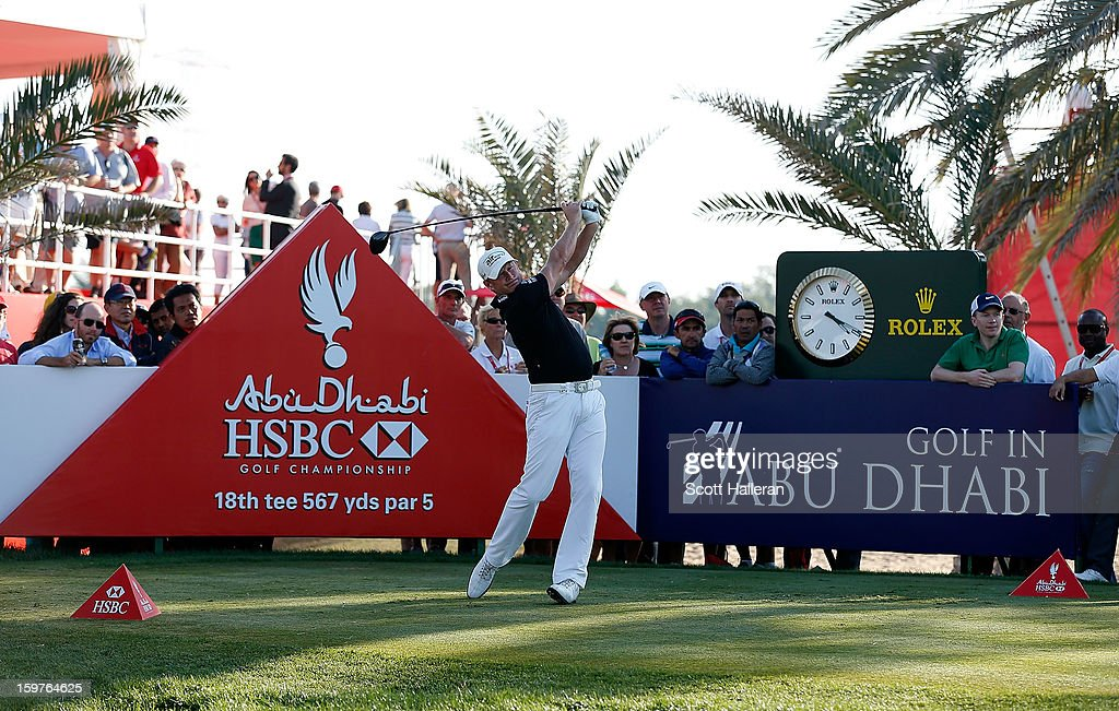 Jamie Donaldson of Wales hits his tee shot on the 18th hole during the final round of the Abu Dhabi HSBC Golf Championship at Abu Dhabi Golf Club on January 20, 2013 in Abu Dhabi, United Arab Emirates.