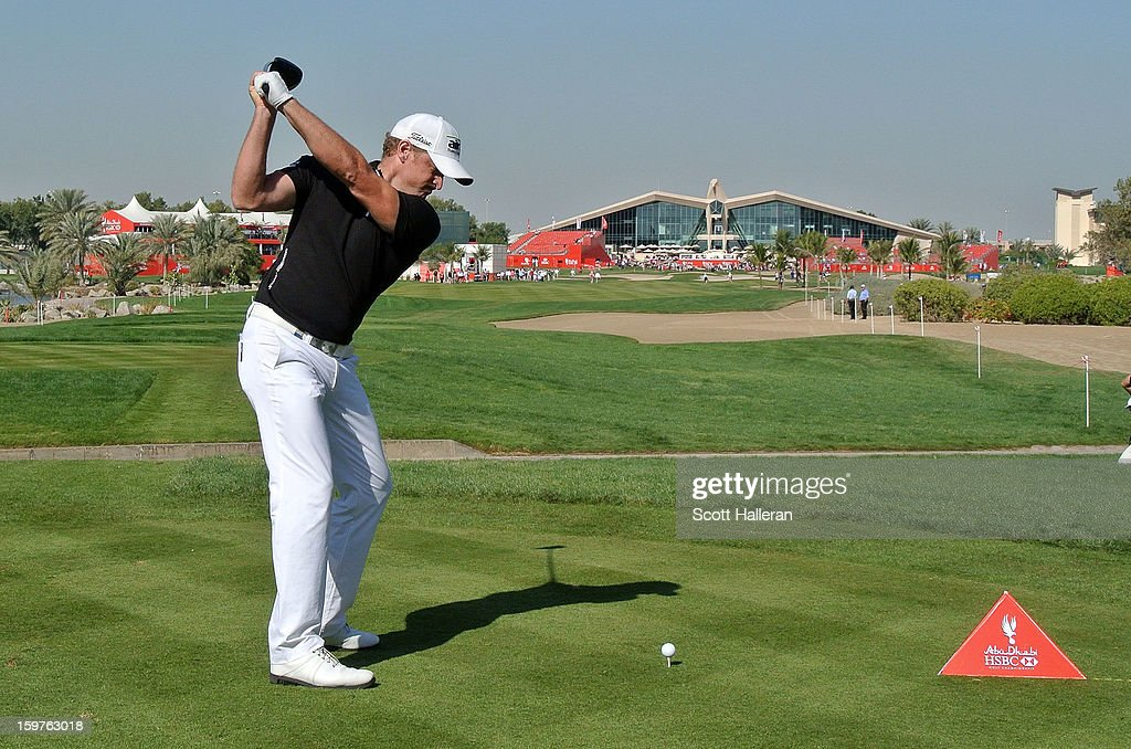 Jamie Donaldson of Wales hits his tee shot on the ninth hole during the final round of the Abu Dhabi HSBC Golf Championship at Abu Dhabi Golf Club on January 20, 2013 in Abu Dhabi, United Arab Emirates.