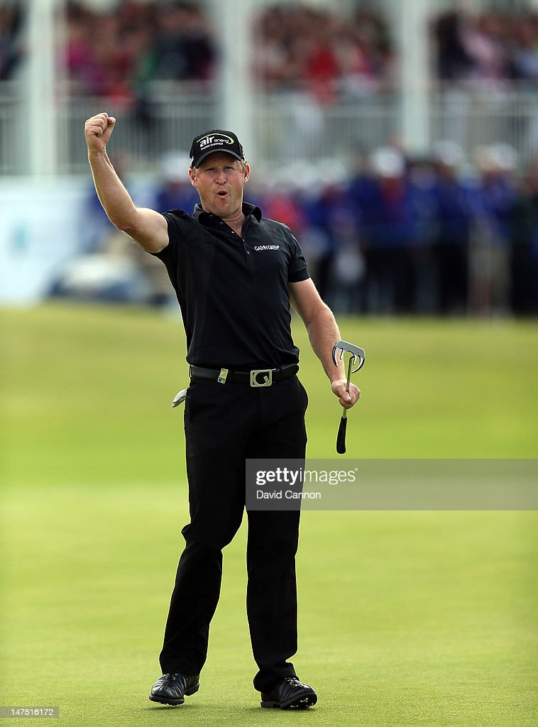 Jamie Donaldson of Wales holes a birdie putt at the 18th hole to secure his first European Tour win during the final round of the 2012 Irish Open...