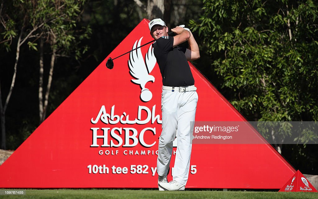 Jamie Donaldson of Wales in action during the final round of The Abu Dhabi HSBC Golf Championship at Abu Dhabi Golf Club on January 20, 2013 in Abu Dhabi, United Arab Emirates.
