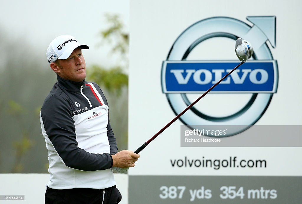 Jamie Donaldson of Wales in action during the pro-am for the Volvo World Matchplay at The London Club on October 14, 2014 in Ash, England.
