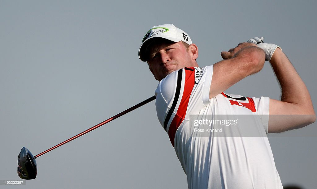 Jamie Donaldson of Wales in action during the second round of the Abu Dhabi HSBC Golf Championship at the Abu Dhabi Golf Club on January 17 2014 in...