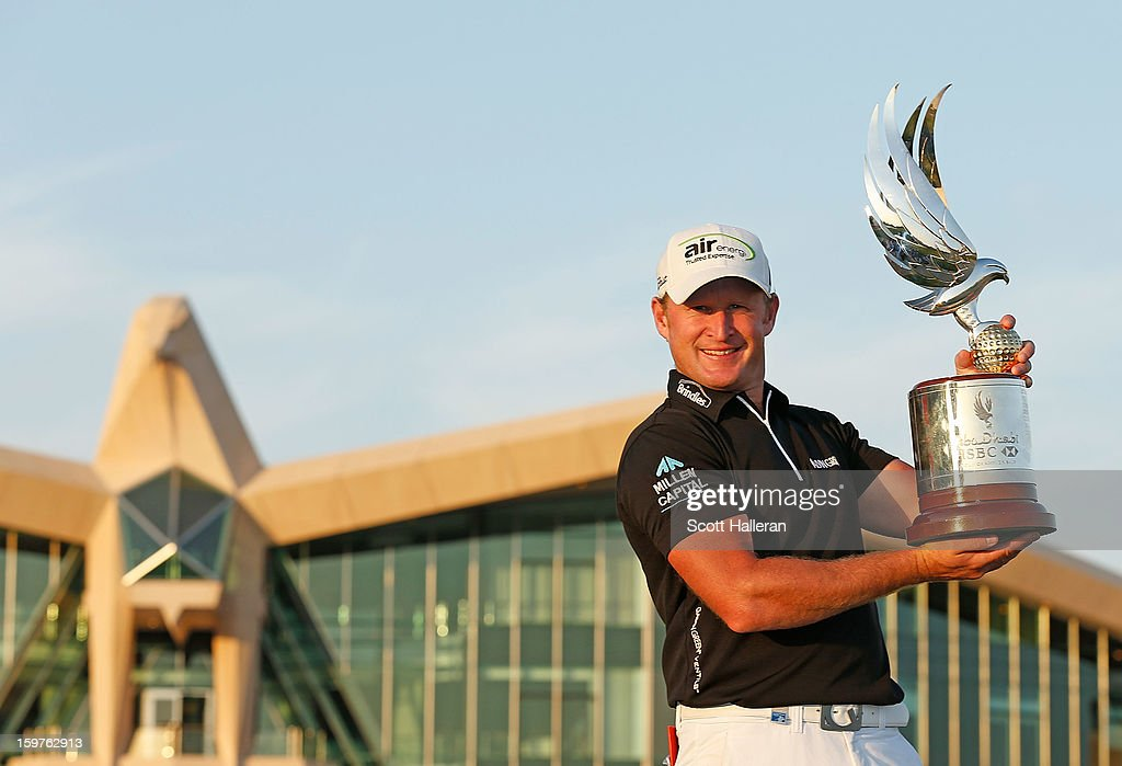 Jamie Donaldson of Wales kisses the trophy after winning the Abu Dhabi HSBC Golf Championship at Abu Dhabi Golf Club on January 20, 2013 in Abu Dhabi, United Arab Emirates.
