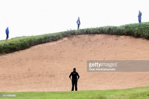Jamie Donaldson of Wales lines up his second shot on the 17th hole out of the bunker during Day Three of the 2012 Irish Open held on the Dunluce...