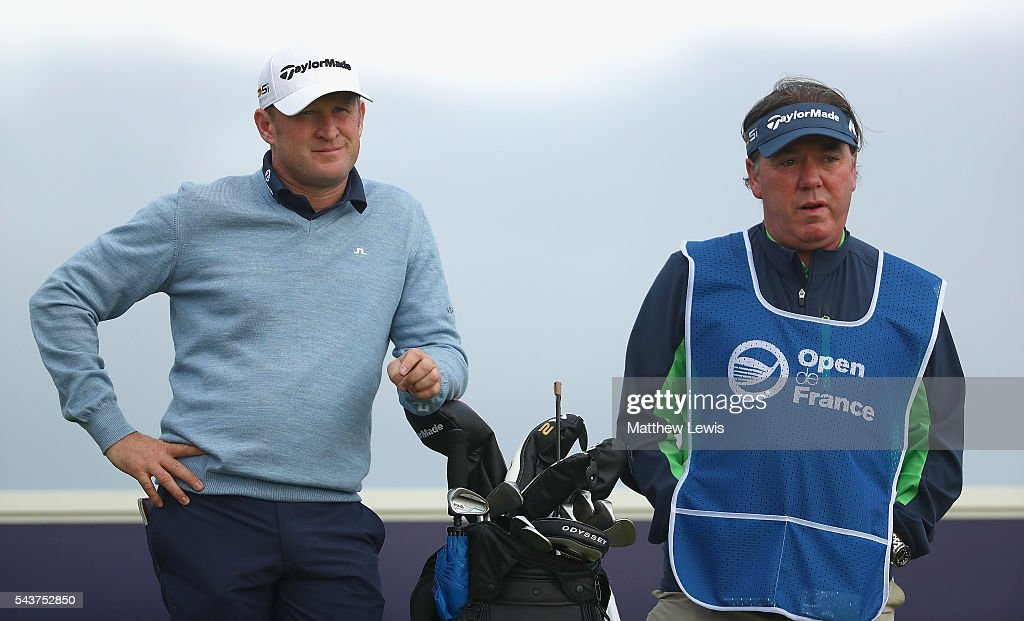 <a gi-track='captionPersonalityLinkClicked' href=/galleries/search?phrase=Jamie+Donaldson&family=editorial&specificpeople=241203 ng-click='$event.stopPropagation()'>Jamie Donaldson</a> of Wales looks on with his caddie Michael 'Mick' Donaghy during day one of the 100th Open de France at Le Golf National on June 30, 2016 in Paris, France.