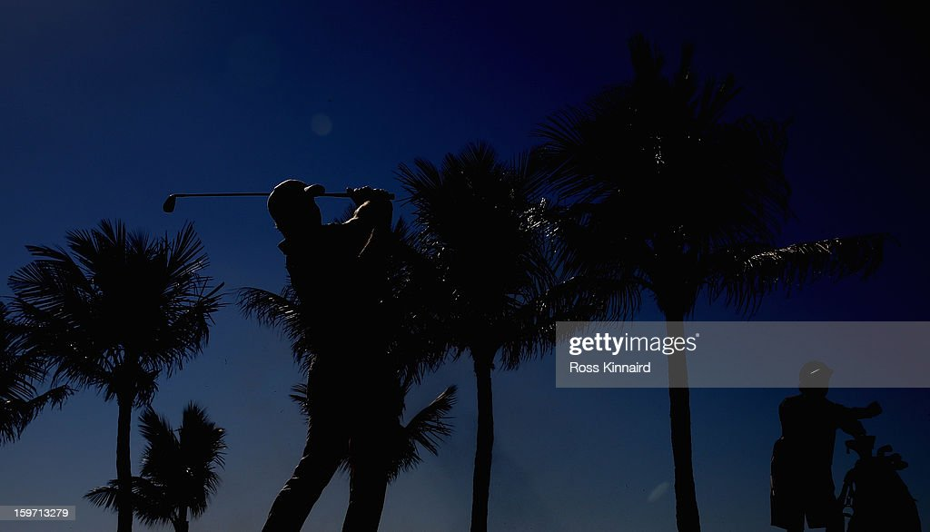 Jamie Donaldson of Wales on the 9th hole during the third round of the Abu Dhabi HSBC Golf Championship at the Abu Dhabi Golf Club on January 19, 2013 in Abu Dhabi, United Arab Emirates.