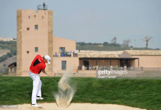 Jamie Donaldson of Wales plays a bunker shot during the second round of the Sicilian Open at Verdura Golf and Spa Resort on March 30 2012 in Sciacca...