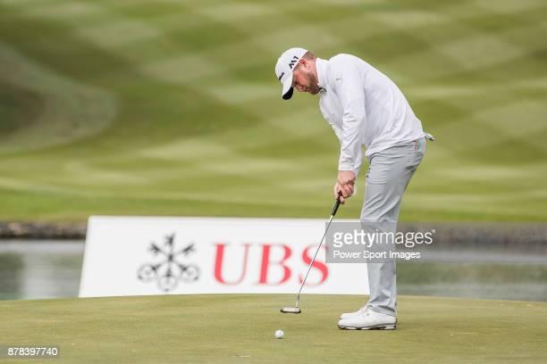 Jamie Donaldson of Wales plays a shot during round two of the UBS Hong Kong Open at The Hong Kong Golf Club on November 24 2017 in Hong Kong Hong Kong