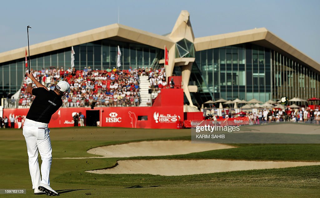 Jamie Donaldson of Wales plays a shot during the Abu Dhabi Golf Championship at the Abu Dhabi Golf Club in the Emirati capital on January 20, 2013. Jamie Donaldson reeled in red-hot Justin Rose to win the championship.