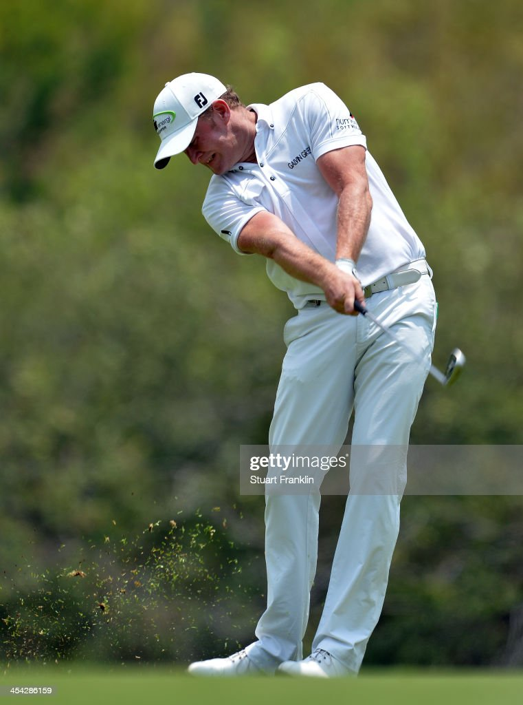 <a gi-track='captionPersonalityLinkClicked' href=/galleries/search?phrase=Jamie+Donaldson&family=editorial&specificpeople=241203 ng-click='$event.stopPropagation()'>Jamie Donaldson</a> of Wales plays a shot during the final round of the Nedbank Golf Challenge at Gary Player CC on December 8, 2013 in Sun City, South Africa.