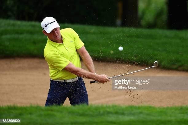Jamie Donaldson of Wales plays his second shot on the 2nd during day three of the Saltire Energy Paul Lawrie Matchplay at Golf Resort Bad Griesbach...