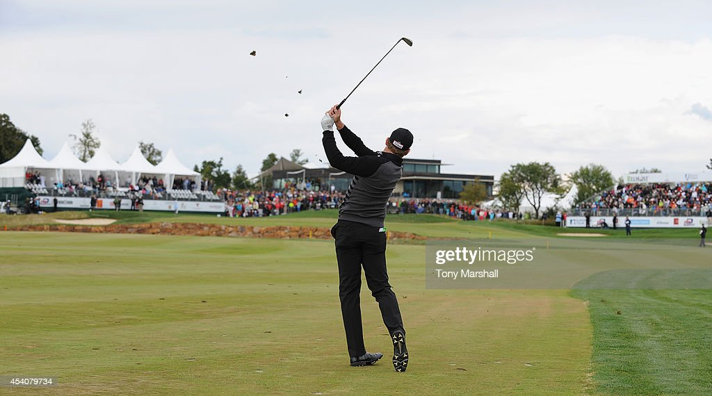 <a gi-track='captionPersonalityLinkClicked' href=/galleries/search?phrase=Jamie+Donaldson&family=editorial&specificpeople=241203 ng-click='$event.stopPropagation()'>Jamie Donaldson</a> of Wales plays his second shot on to the 18th green during day four of D+D REAL Czech Masters at Albatross Golf Resort on August 24, 2014 in Prague, Czech Republic.