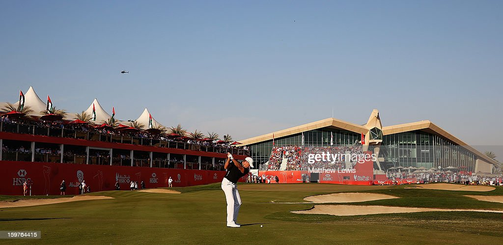 Jamie Donaldson of Wales plays his third shot on the 18th fairway during day four of the Abu Dhabi HSBC Golf Championship at Abu Dhabi Golf Club on January 20, 2013 in Abu Dhabi, United Arab Emirates.