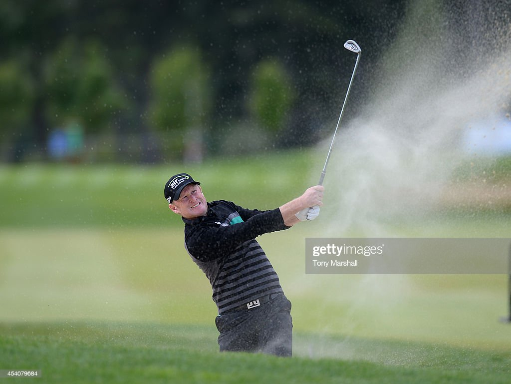 <a gi-track='captionPersonalityLinkClicked' href=/galleries/search?phrase=Jamie+Donaldson&family=editorial&specificpeople=241203 ng-click='$event.stopPropagation()'>Jamie Donaldson</a> of Wales plays out of a bunker on the 12th fairway during day four of D+D REAL Czech Masters at Albatross Golf Resort on August 24, 2014 in Prague, Czech Republic.