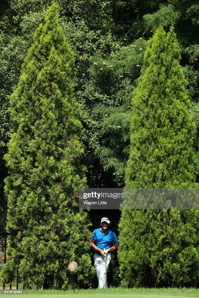 Jamie Donaldson of Wales plays outof the trees on the 12th green during the third round of the Tshwane Open at Pretoria Country Club on March 4, 2017 in Pretoria, South Africa.