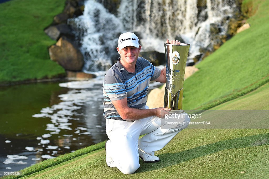 Jamie Donaldson of Wales pose with the trophy after winning the final round of the 2015 Thailand Open at Amata Spring Country Club on December 13, 2015 in Chon Buri, Thailand.
