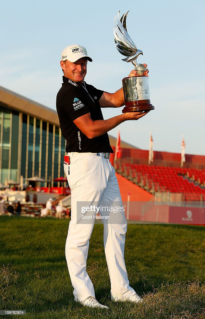 Jamie Donaldson of Wales poses with the trophy after winning the Abu Dhabi HSBC Golf Championship at Abu Dhabi Golf Club on January 20, 2013 in Abu Dhabi, United Arab Emirates.